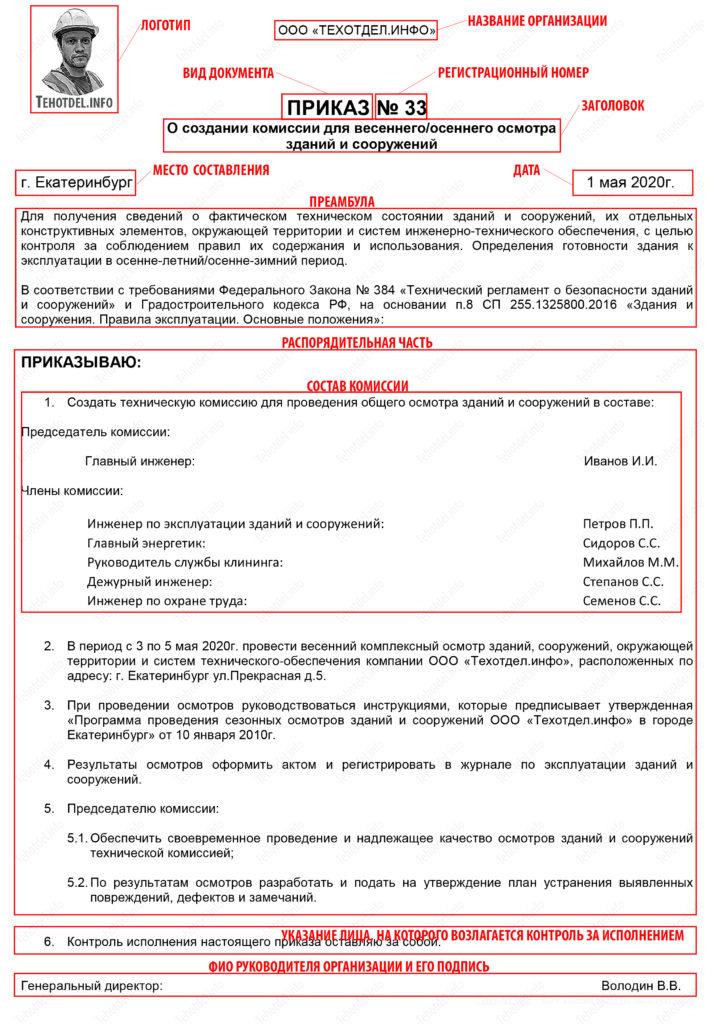 Приказ о создании комиссии для проведения весеннего или осеннего сезонного осмотра зданий и сооружений